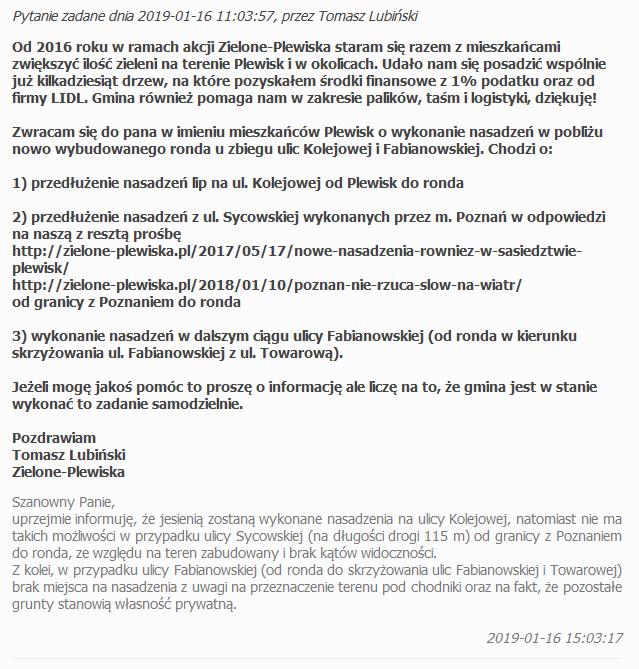 Odpowiedź gminy w sprawie nasadzeń na ul. Kolejowej